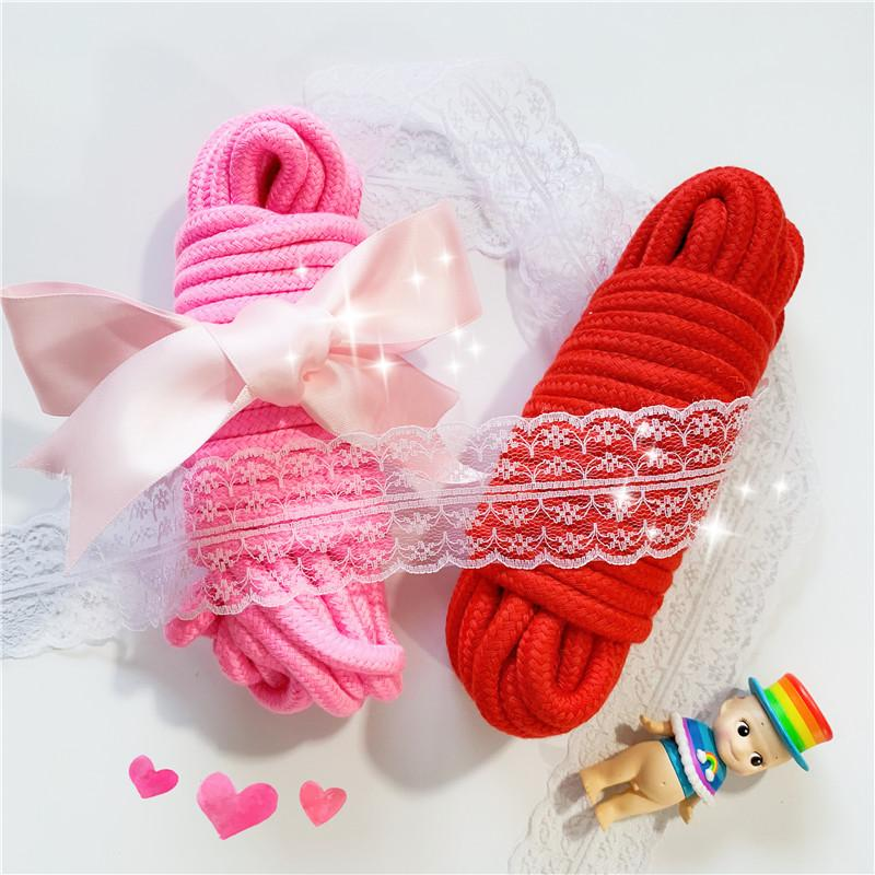 Pink and Red Soft Twisted Ropes for BDSM Roleplay toy,Adult Sex Game Products