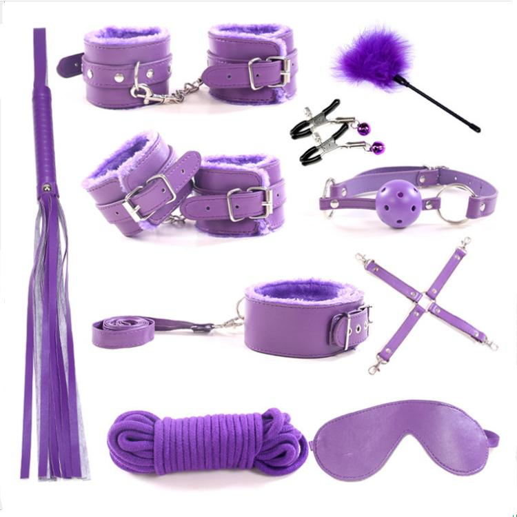 Restraints Sexy Kit Ball Gag Cuff Whip Collar Fetish Toy Deluxe 10pc Set BDSM